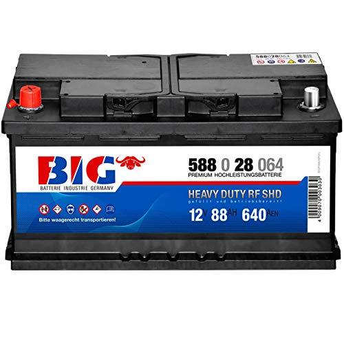 Starterbatterie 12V 88Ah 640A BIG Batterie 58828 für PKW Traktor Stapler - Pluspol links