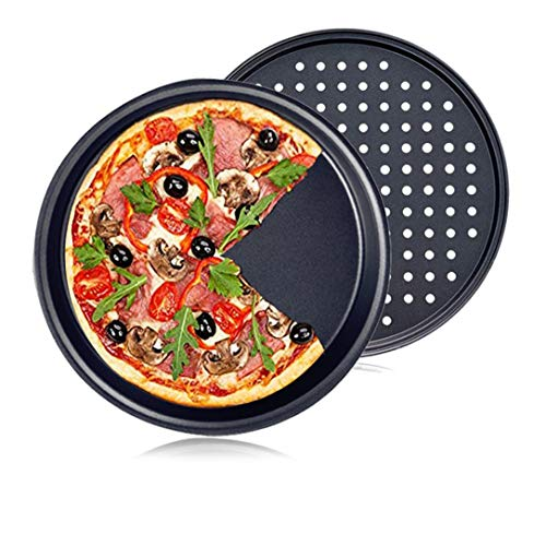 Eyerayo Pizza Pan 12' Pizza Baking Plates Non-Stick Bakeware Pie Pan Crisper Tray with hole Round Professional Carbon Steel for Oven 2 Set (one hole one without hole)