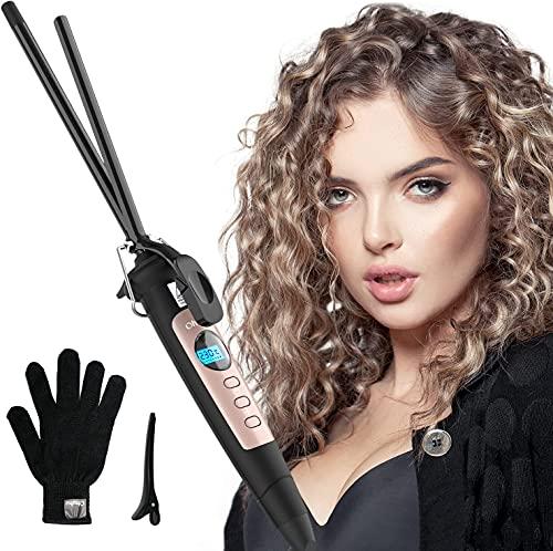 Mini Lockenstab, Ohuhu 9mm Lockenstab Keramik, Lockenstab Kleine Locken mit LCD Temperaturanzeige für kurzes langes Haar Einstellbare Temperatur und Hitze Handschuh für Frauen Männer