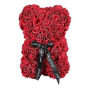 Silk Flower Arrangements BESPORTBLE Rose Bear Girlfriend Gifts Hand Made Teddy Bear Flower Gift for Mothers Day, Valentines Day, Anniversary, Wedding & Birthday