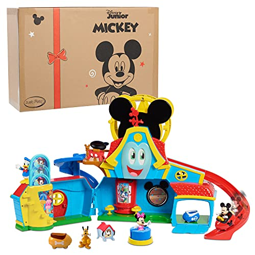 Just Play Disney Junior Mickey Mouse Funny The Funhouse 13 Piece Lights and Sounds Playset, Includes Mickey Mouse, Donald Duck and Bonus Pluto Figure, Amazon Exclusive