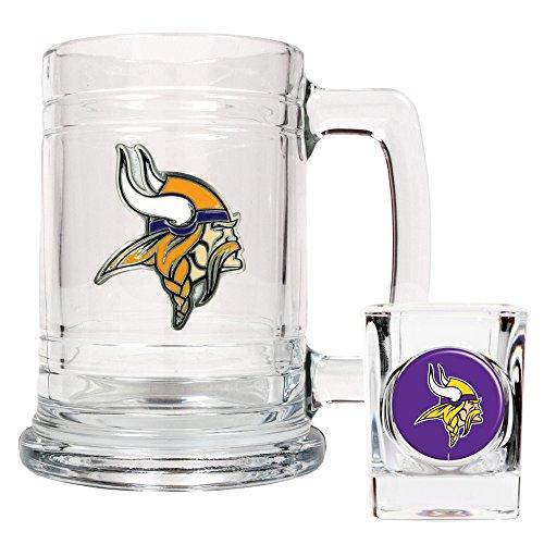 Minnesota Vikings NFL 2pc Rocks Glass Set - Helmet logo