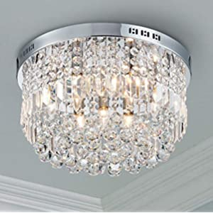 Bestier Modern Crystal Round Raindrop Chandelier Lighting Flush Mount LED Ceiling Light Fixture Pendant Lamp for Dining Room Bathroom Bedroom Livingroom 9 E12 Bulbs Required 19.7 in Wide 9.8 inch High