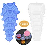 Silicone Stretch Lids,12-Pack Various Sizes Cover for Bowl Reusable Durable and Expandable Lids Silicone Covers for Fresh Food Stretch for Container, Bowl in Dishwasher