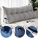 Moonase Triangular Reading Pillow Large Bolster Headboard Backrest Positioning Support Wedge Pillow for Day Bed Bunk Bed with Removable Cover,Reading Relaxing (Silver Lime, L:100cm/39inch)