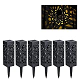 Sufonv Hollow Lawn Lights Solar Lawn LED Lights Outdoor Waterproof and Moisture Proof Lawn Landscape Decoration Lighting Courtyard Decoration are Suitable Warm Light 6PCS for Yard Garden passages etc