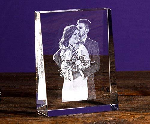 Isonio Glasfoto - Ihr eigenes Foto in Viamant Glas gelasert - Foto im Kristallglas als Fotogeschenk (Größe M Hochformat 80 x 105 x 30mm)