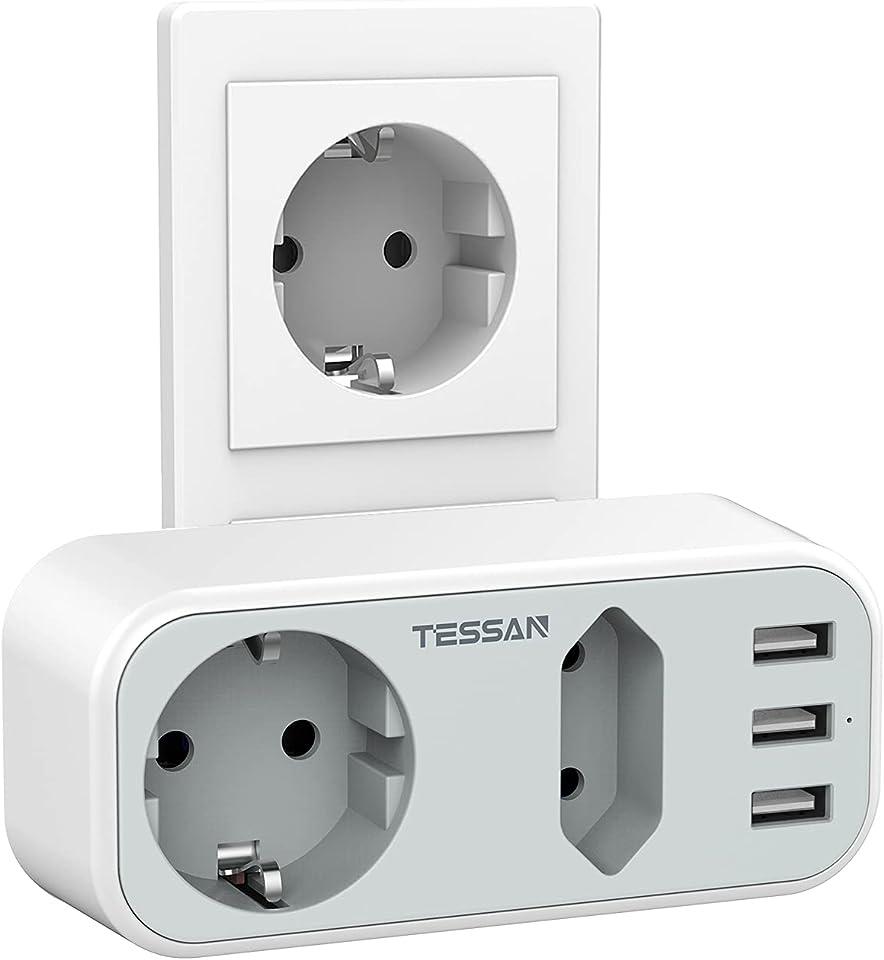 TESSAN 5 in 1 Doppelstecker für Steckdose, Mehrfachsteckdose mit 3 USB Anschluss, Steckdosenadapter 2 Fach Mehrfachstecker Steckdosen mit USB Ladegerät Kompatibel für Phone Laptop, Grau