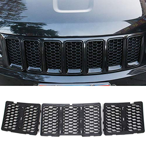 CheroCar Black Front Grill Inserts Trim Honeycomb Mesh Grill Ring Cover Kit Fits Jeep Grand Cherokee 2014-2016, Exterior Decoration Accessories, 3Pack…
