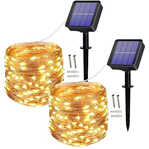 [2 Pack] Solar String Lights, 100 LED 10M/33Ft 8 Modes Solar Fairy Lights...