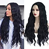 MEckily Black Wigs with Simulated Lace Scalp Long Wavy Heat Resistant Synthetic Wig for Women Daily Cosplay 26 inch