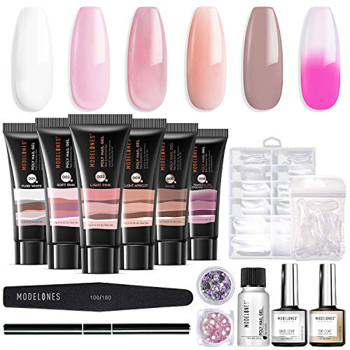 Modelones Poly Nail Gel Kit Enhancement Builder Temperature Color Changing Acrylic Extension with Slip Solution Trial Professional Technician All-in-One French Kit