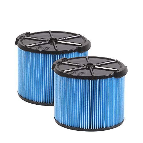 WORKSHOP Wet/Dry Vacs Vacuum Filters WS12045F2 Fine Dust Wet/Dry Vacuum Filters (2-Pack - Shop Vacuum Filters) For WORKSHOP 3-Gallon To 4-1/2-Gallon Shop Vacuum Cleaners, Blue