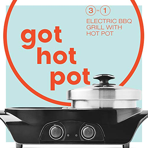 GOT HOT POT 3-in1 Electric Indoor Shabu Shabu Hot Pot with Bbq Grill | Interchangeable Stainless...