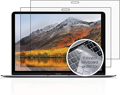 Homy Screen Protector [2-Pack] for MacBook Pro 15 inch Touch Bar 2016-2019: 1x Matte, 1x Glare. Bonus: Ultra-Thin TPU Keyboard Cover (Skinny). Premium Laptop Kit 15inch Apple A1707, A1990. Reduce UV.