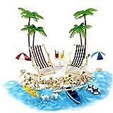 Ohomr casa de muñecas en Miniatura Accesorios Beach Decoración del Paisaje de la Playa Micro con tumbonas Parasoles de la Palmera para el Verano 18PCS