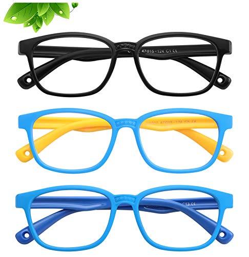 KUGUAOK 3 Pack Kids Blue Light Blocking Glasses Soft Silicone Eyeglasses Frame Boys Girls Computer Gaming TV Glasses (Age 3 to 15)