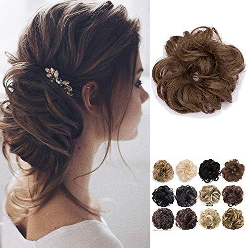 Haarteil Dutt Haargummi Synthetik Haare Extensions Gewellt günstig Haarverlängerung für Haarknoten Gummiband Hochsteckfrisuren Haarband Braun