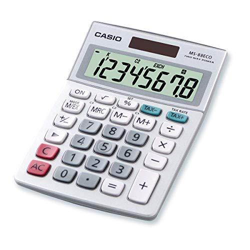CASIO Tischrechner MS-88ECO, 8-stellig, umweltfreundlich, Währungsumrechnung, Aluminiumfront, Solar-/Batteriebetrieb