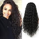 VKHair 16'/40cm Brasileño Virgen Peluca Rizado/Water Wave 100% Natural Humano Pelo Indetecable Malla Completa/Full Lace Wig Negro 1B
