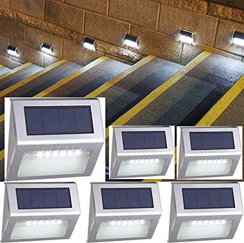 Solar Deck Step Lights Cool White,Wireless 6 LED Waterproof Outdoor Fence Lighing,Stainless Steel Decorative Stairs Lamp Outside Decor for Backyard Railing Staircase Pool Walkway Yard 6 Pack