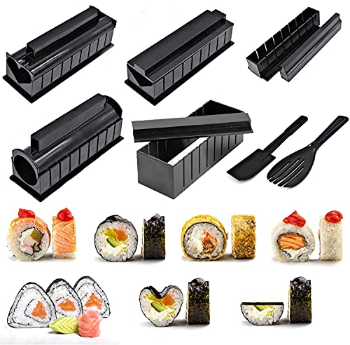 Sushi Making Kit 10 Pieces Plastic DIY Sushi Maker with Multiple Shapes Rice Mold and Rice Spatula, Easy Using Sushi Kit for Beginners and Professional at Home, Restaurant, Hotel