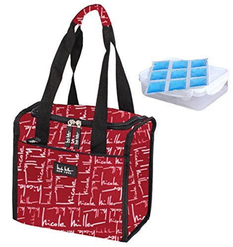 Nicole Miller 11 Insulated Lunch Tote with Sandwich Container and Ice Pack (Signature Red) by Nicole Miller