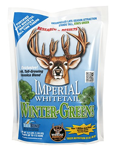 Whitetail Institute Winter-Greens Deer Food Plot Seed for Fall Planting, Annual Brassica Blend to Attract Deer in The Early and Late Season, Very Cold and Drought Tolerant, 3 lbs (.5 Acres)