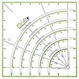 falllea Quilting Ruler Arcs and Fan Quilt Circle Cutter Rule DIY Hand Patchwork Ruler, Square Quilting Rulers with Double-Coloured Grid Lines for Measuring and Cutting