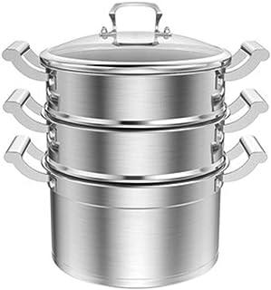 Vaporizador de acero inoxidable, olla sopera, olla de vapor de acero inoxidable, gran capacidad de 3 capas de acero inoxidable 316 de 26 cm