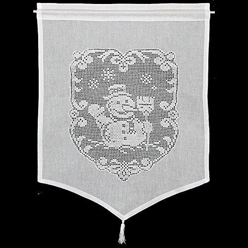 Raamdecoratie sneeuwpop gordijn Hossner | 60x45 cm H/B | wit | 100% katoen