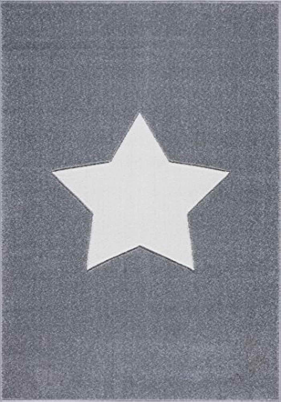 Livone Hochwertiger Jugendteppich Kinderzimmer Kinderteppich Stern Silber grau Weiss Gre 160 x 220 cm