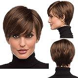 Becus Short Pixie Cut Peluca Pelo sintético liso resistente al calor en capas con flequillo para mujeres (Bob Style # 33 Dark Auburn Brown)