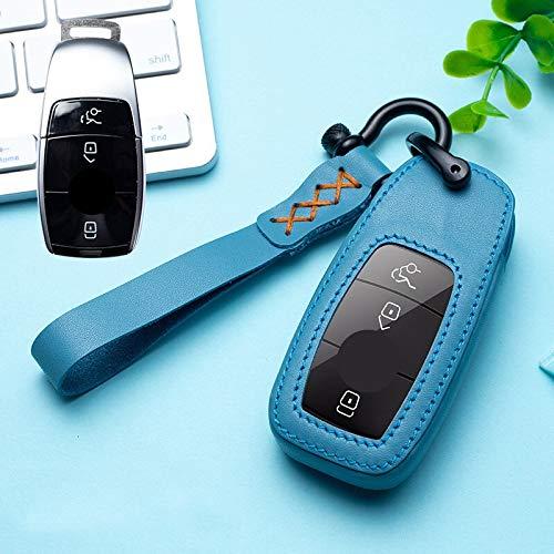 Roki-X Cubierta de la Caja de la Llave del Coche de Cuero Adecuado para Mercedes Benz W202 W210 W211 W204 W212 E Clase 2018 Accesorios Llavero Soporte Llavero Llavero (Color Name : Blue)