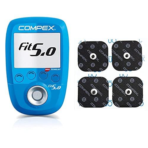 Compex Wireless Fit 5.0 Electroestimulador, Unisex, Azul + 6260760 Electrodos Easysnap Performance, 5 X 5 cm, Pack de 4