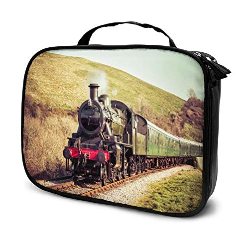 "Steam Train Cosmetic Bag Large Capacity Toiletry Bag for Women Portable Travel Square Makeup Bag The best gift for women(9.8""x 3.15""x 7.5"")"