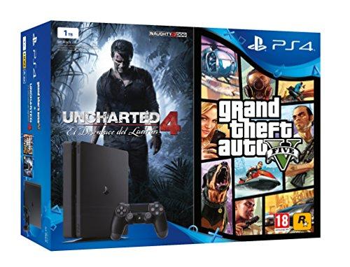 PlayStation 4 (PS4) - Consola De 1 TB + Uncharted 4: A Thief's End + Grand Theft Auto V