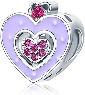 Charm in argento 925 con ciondolo a forma di cuore in argento 925 fai da te a forma di castello di fata e carino, con scri...
