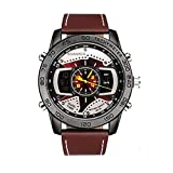 New Men's BOAMIGO Brand Sports Leather Strap Watch Electronic Quartz Dual Display Watch Fashion Casual Waterproof Watches (Brown)