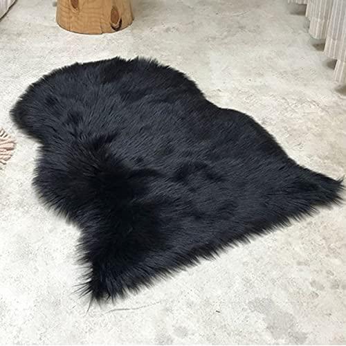Super Soft Fluffy Faux Fur Rug, Shaggy Couch Seat Kudde, Black Plush Area Rug, Sheepskin Chair Cover Couch Seat för barnrummet Dorm Decor,1P60*90