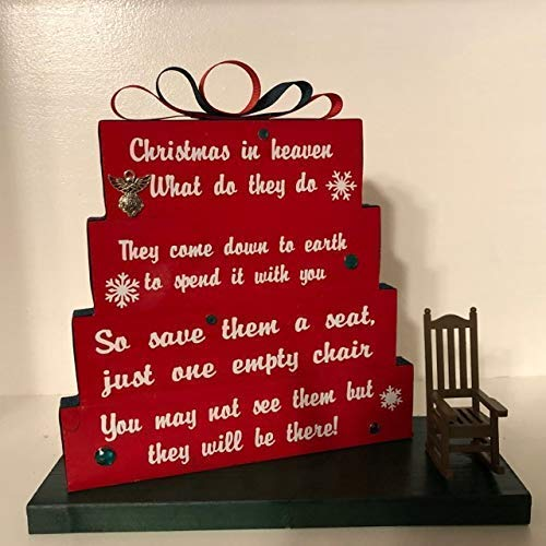 Christmas in Heaven, save them a seat, one empty chair, Christmas Red with red and green ribbon, green rhinestones and snowflakes with small Rocking chair