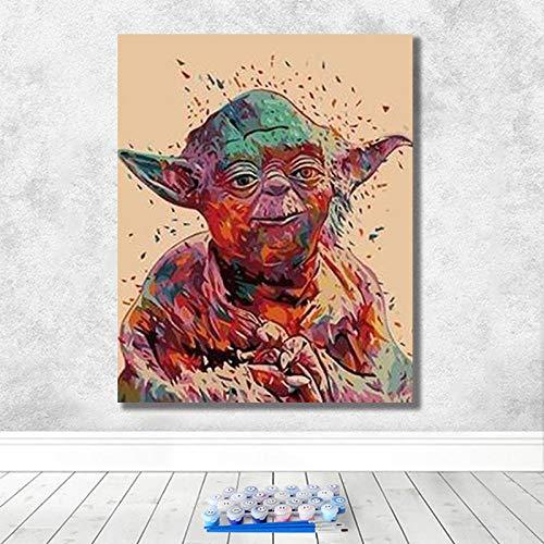 Pintura Al Óleo Digital Creativo Juego De Personajes De Películas De Star Wars Pintura Al Óleo Pintada A Mano Decoración De La Sala De Estar -40X50Cm-Enmarcado