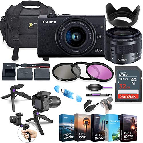 Canon EOS M200 Mirrorless Digital Camera with 15-45mm Lens (Black) + 5 Photo/Video Editing Software Package & Commander Optics Accessory Kit
