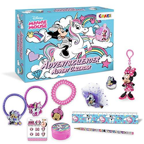 CRAZE 24669 Adventskalender Minnie Mouse Weihnachtskalender für Mädchen Jungen Spielzeugkalender, kreative Inhalte, Tolle Überraschungen
