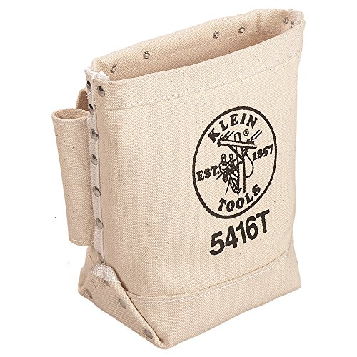 Klein Tools 5416T Bolt Bag, Canvas Tool Pouch for Bolt / Bull Pin Storage with Tunnel Loop Belt Connection
