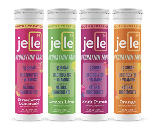 Jele Hydration Tablets for Kids - Mixed Flavors 4 Pack (40 Tablets Total) All-Natural Sports Drink - Vitamins & Electrolytes - Low Sugar - Vegan, Gluten-Free & Non-GMO