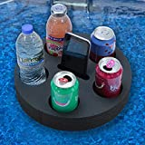 Polar Whale Drink Holder Floating Refreshment Tray for Pool or Beach Party Float Lounge Durable Black Foam 6 Compartment UV Resistant 12 Inches with Cup Holders