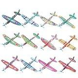 FORMIZON 24 Aviones Planeadores de Papel, Avión de Papel, 12 Color Distintos, Regalo de Cumpleaños para Niños, Rellenos de Bolsas de Fiesta, Regalos, etc