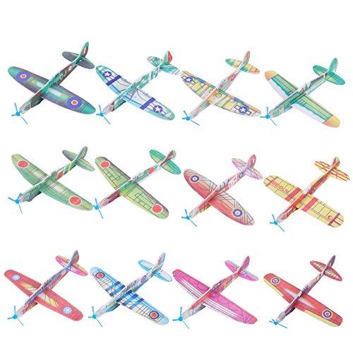 FORMIZON 24 Pack Avion Polystyrène Planeurs en 12 Motifs Différents Modèle Avion Mousse Main Lancer Planeur pour Les Pochettes-Surprise, Récompense à lÉcole, Jouets Avions Styrol pour Pinata