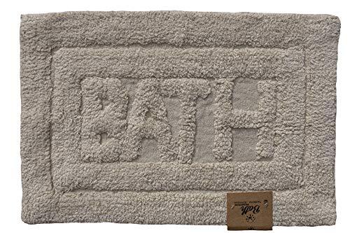 Tappeto da Bagno, Tappetino Doccia 60x40 cm, Soffice 100% Cotone, Lavabile in Lavatrice, Colore Beige